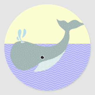 wave the whale classic round sticker