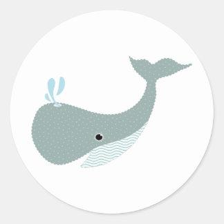 wave the whale round sticker