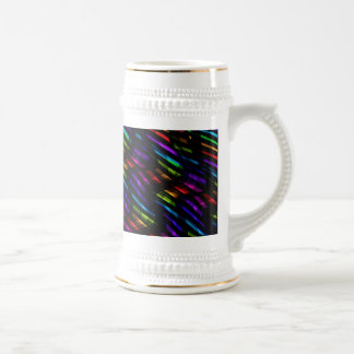 Wave Twists Dark Rainbow Gem Mosaic Artwork Beer Stein