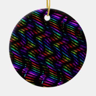 Wave Twists Dark Rainbow Gem Mosaic Artwork Ceramic Ornament