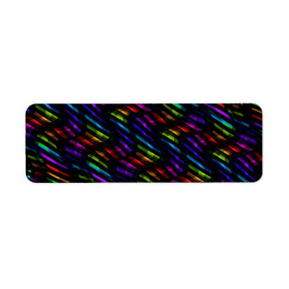 Wave Twists Dark Rainbow Gem Mosaic Artwork Label