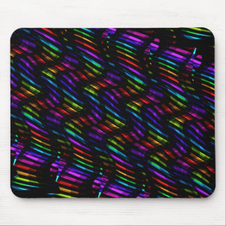 Wave Twists Dark Rainbow Gem Mosaic Artwork Mouse Pad