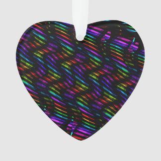 Wave Twists Dark Rainbow Gem Mosaic Artwork Ornament