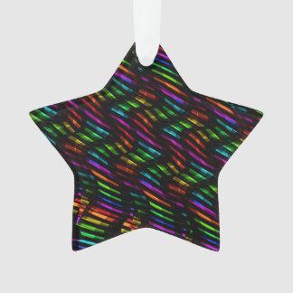 Wave Twists Hot Rainbow Gem Mosaic Artwork Ornament