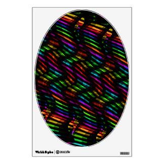 Wave Twists Hot Rainbow Gem Mosaic Artwork Wall Decal