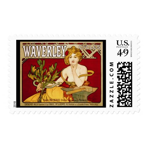 Waverley Cycles - Art Nouveau - Alphonse Mucha Postage