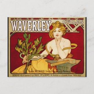Waverley Cycles - Art Nouveau - Alphonse Mucha postcard