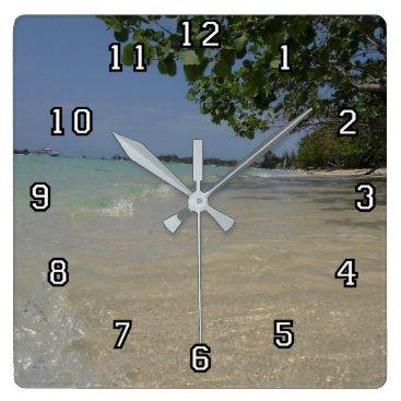 Beach Themed Waves Along Negril Beach Jamaica Square Wall Clock