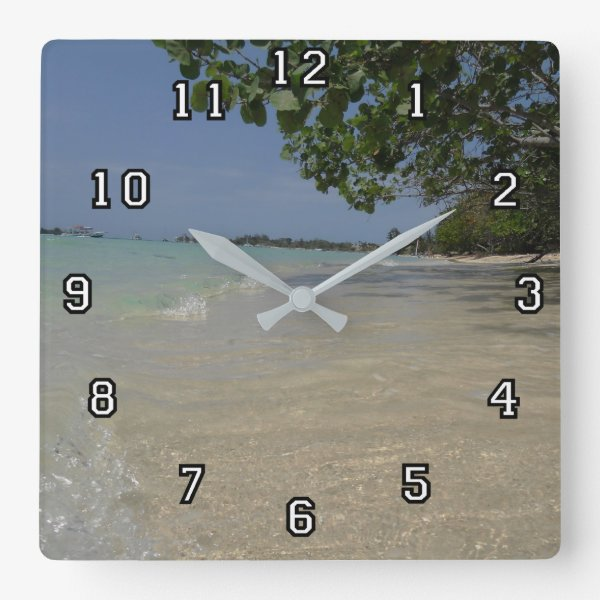 Waves Along Negril Beach Jamaica Square Wall Clock