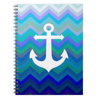 Waves & Anchor Spiral Notebook