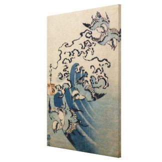 Waves and Birds c 1825 Stretched Canvas Print