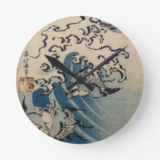 Waves and Birds, c.1825 (colour woodblock print) Round Wall Clocks