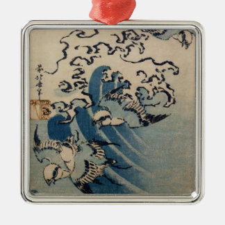 Waves and Birds, c.1825 (colour woodblock print) Metal Ornament