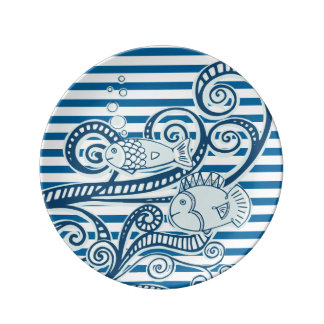 Waves and Fish Blue and White Stripe Plate