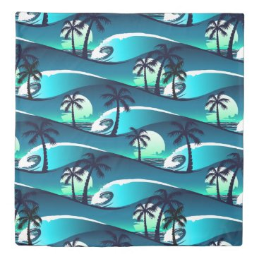 Waves and palm trees duvet cover