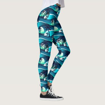 Beach Themed Waves and palm trees leggings