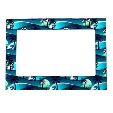 Beach Themed Waves and palm trees magnetic frame