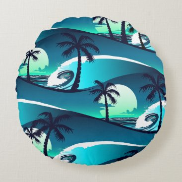 Beach Themed Waves and palm trees round pillow