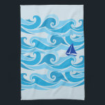 """Waves and sail boat in the Ocean Hand Towel<br><div class=""""desc"""">Cool nautical design of sail boat in the waves in the sea. Favorite tea towel for anyone who love to sail.  Turquoise and blue colors. Great addition to any galley!</div>"""