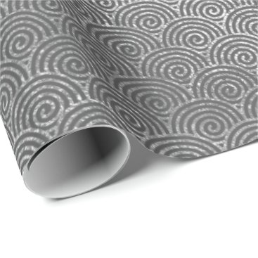 Beach Themed Waves Art Deco Silver Gray Spiral Circles Infinity Wrapping Paper