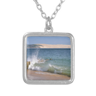 Waves at Cap-Ferret in France Silver Plated Necklace