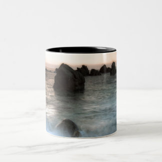 Waves at Sunset Beach, Catalonia, Spain Two-Tone Coffee Mug