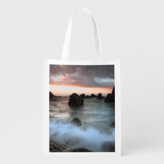 Waves at Sunset Beach, Catalonia, Spain Grocery Bags