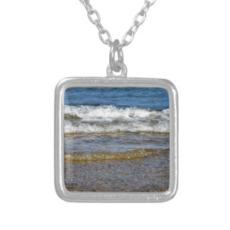 WAVES AT THE BEACH QUEENSLAND AUSTRALIA SQUARE PENDANT NECKLACE