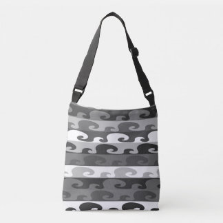 Waves (b&w) crossbody bag
