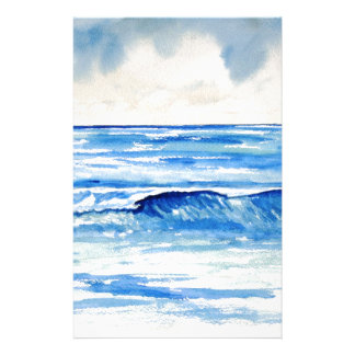 Waves blue turquoise art stationery