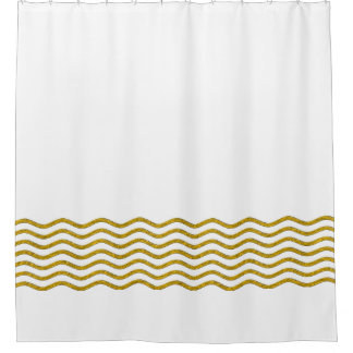 Waves Border gold + your ideas Shower Curtain