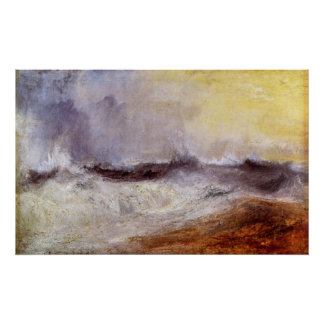 Waves breaking against the wind by Joseph Turner Print