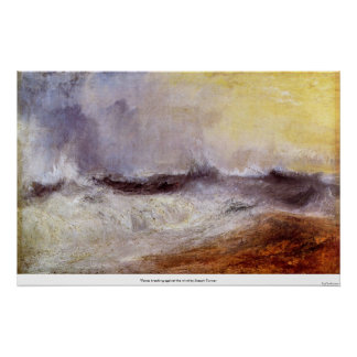 Waves breaking against the wind by Joseph Turner Poster