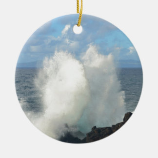 Waves breaking on a volcanic shore Double-Sided ceramic round christmas ornament