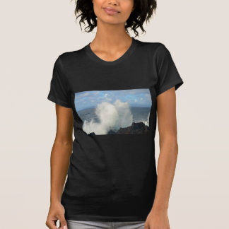 Waves breaking on a volcanic shore t-shirt