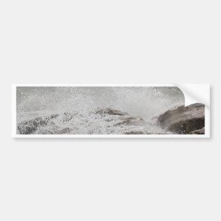 Waves breaking on rocks bumper sticker