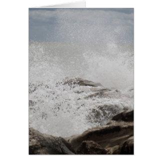 Waves breaking on rocks card