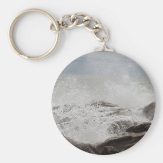 Waves breaking on rocks keychain