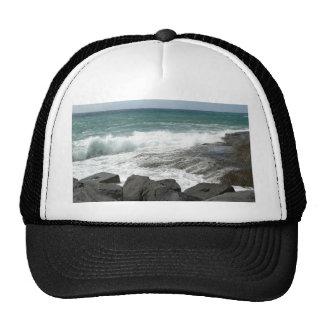 Waves Breaking Rocks Trucker Hats