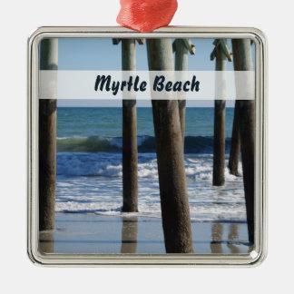 Waves Breaking Under the Pier at Myrtle Beach Metal Ornament