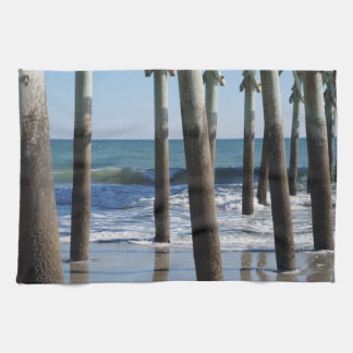 Waves Breaking Under the Pier at Myrtle Beach Towels