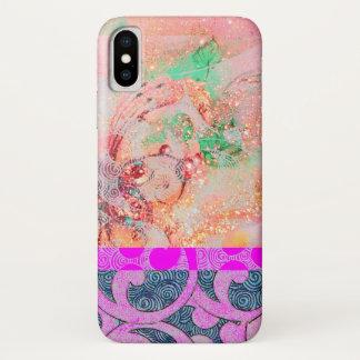 WAVES / Bright Pink Purple Swirls in Gold Sparkles iPhone X Case
