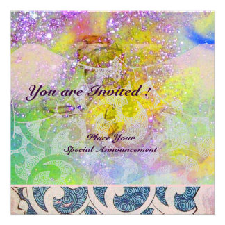 WAVES , bright purple green blue pink gold sparkle Custom Announcements