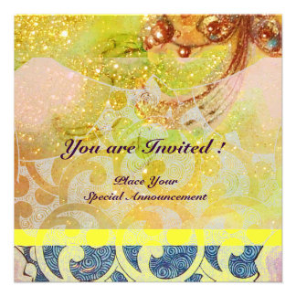 WAVES , bright red brown yellow blue pink sparkles Invites