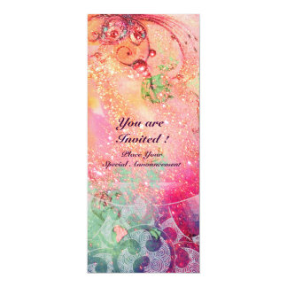 WAVES , bright  red green blue pink gold sparkles Card