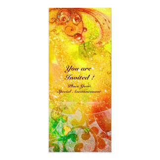 WAVES , bright red  green brown pink gold sparkles Card