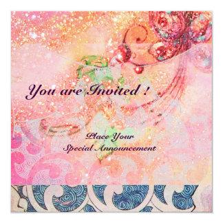 WAVES , bright red violet blue pink gold sparkles Card