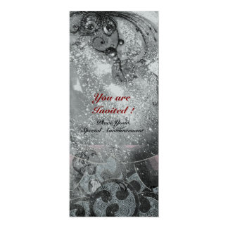 WAVES bright silver metallic black white sparkles Card