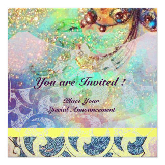 WAVES , bright yellow blue green pink gold sparkle Card