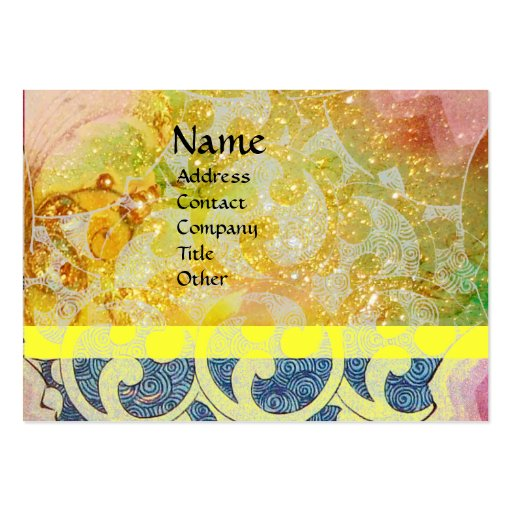 WAVES / Bright Yellow Blue Swirls in Gold Sparkles Business Card Template